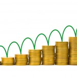 Arrow and money staircase increase rise cash