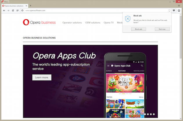 Opera built in ad blocker
