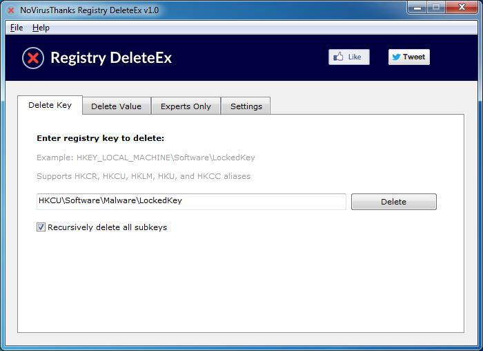 Registry.DeleteEx