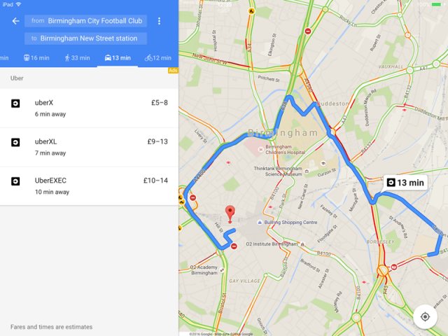 google maps for ios adds taxi services to route options