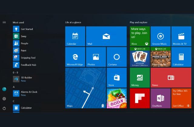 Windows 10 start menu update