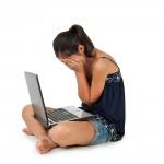 Sad girl Windows 10 laptop