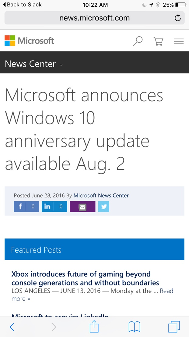 Early win 10 announcement