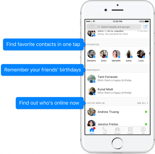 Facebook Messenger new sections features social