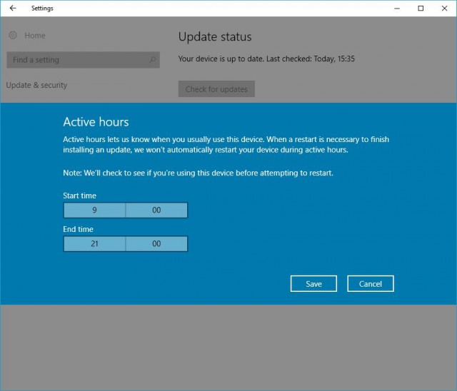 Windows 10 Anniversary Update -- Windows Update -- Active hours