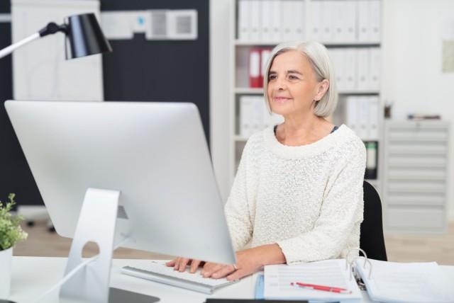 senior older elderly woman PC Mac office