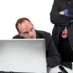 Employee guilty laptop boss