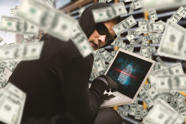 Hacker money laptop