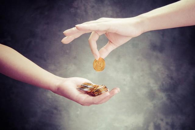 Money hands coins