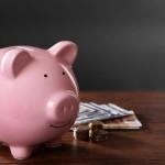 Piggy Bank table cash coins
