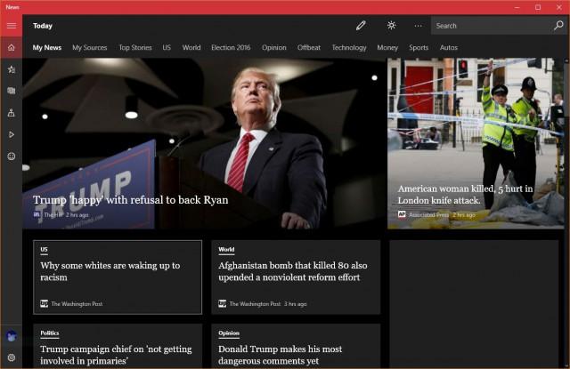 Windows 10 anniversary update dark theme news app