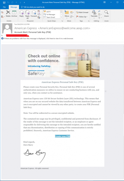 Amex SafeKey scam email
