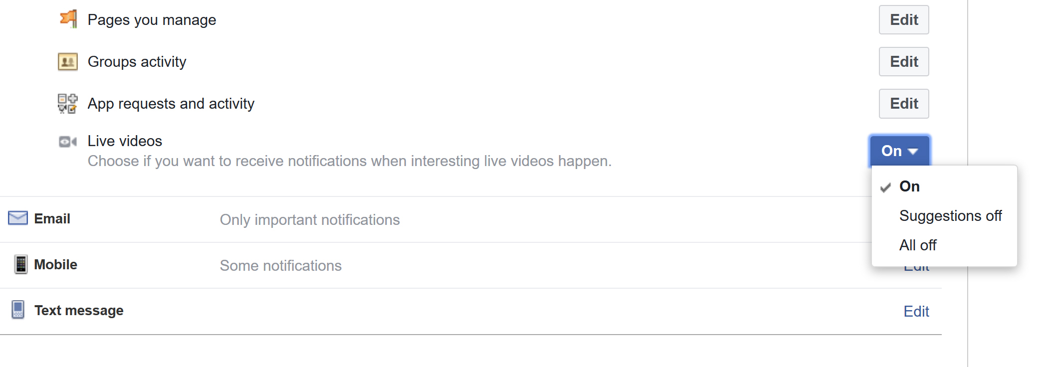 how to turn off live video on facebook