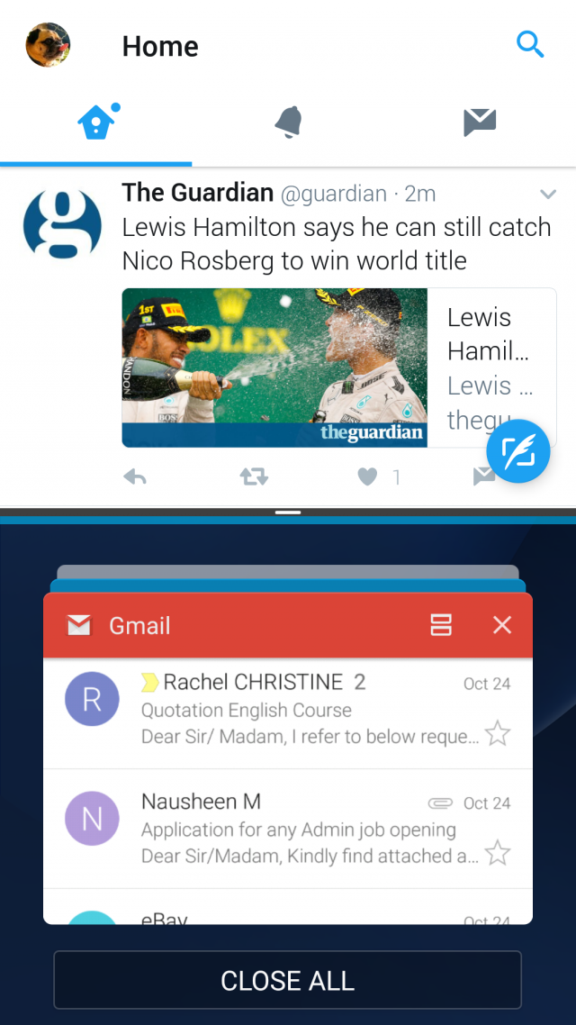 Samsung Galaxy S7 Android 7.0 Nougat multi window