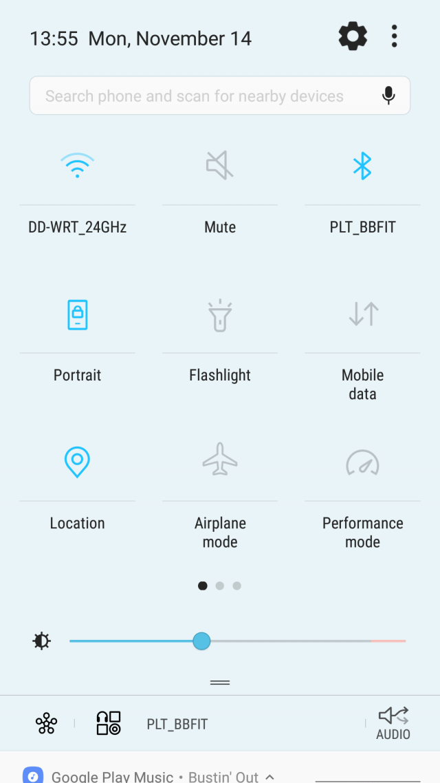 Samsung Galaxy S7 Android 7.0 Nougat quick settings