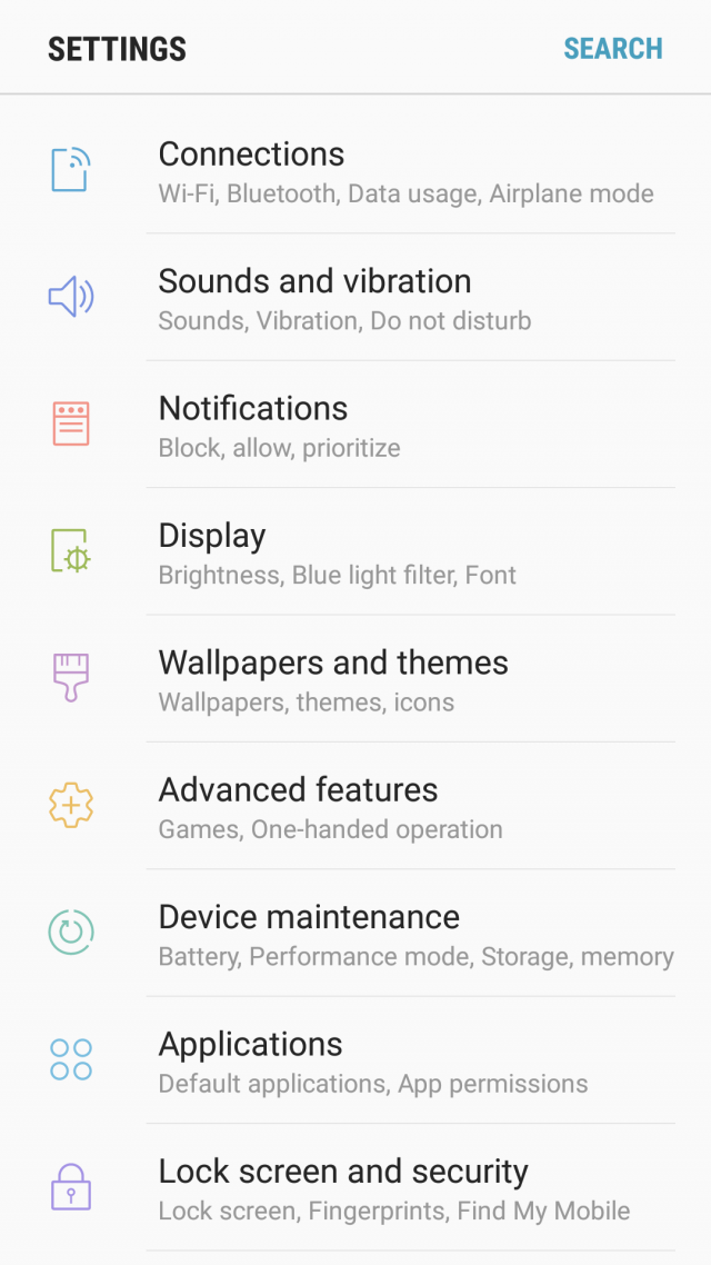 Samsung Galaxy S7 Android 7.0 Nougat settings