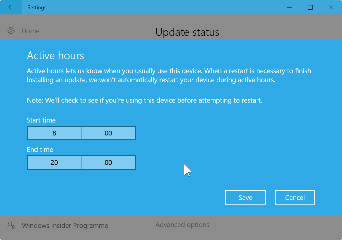 How to stop Windows 10 automatically rebooting after updates