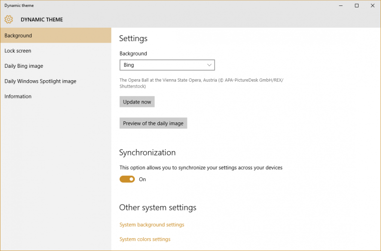 Dynamic Theme sets Bing or Spotlight images as your Windows