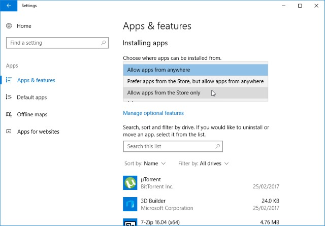 How to block the installation of non-Windows Store apps in
