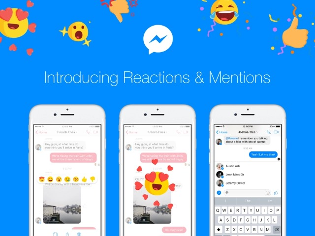 39e93cecc19 Facebook Messenger borrows from Slack with Reactions and mentions
