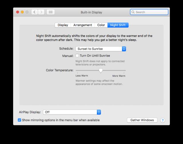 macOS Sierra Night Shift