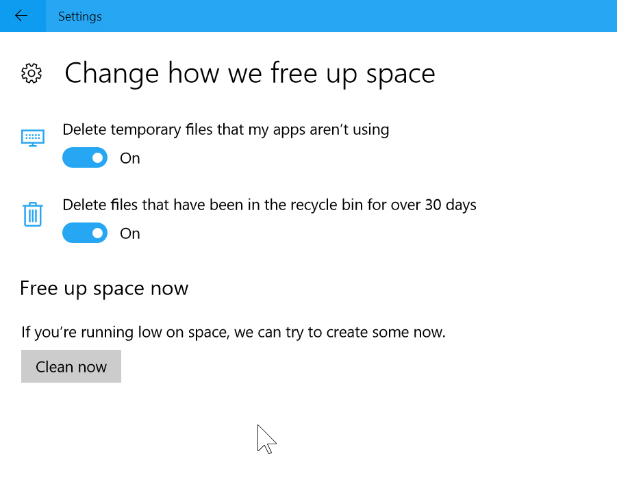Change how free space