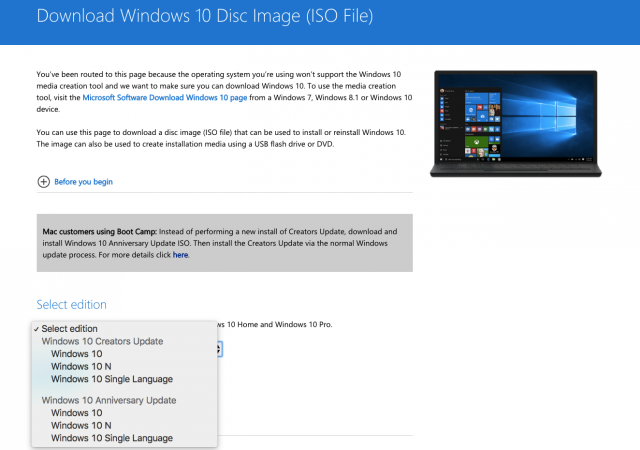Windows 10 Creators Update ISO files direct download