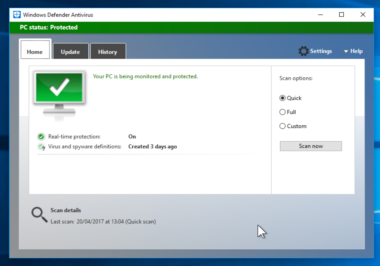 how to get the classic windows defender back on windows 10