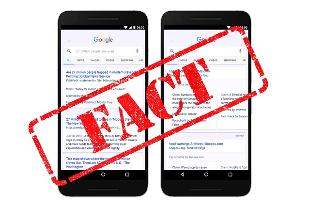 Google combats fake news with 'Fact Check' results in search and news class=