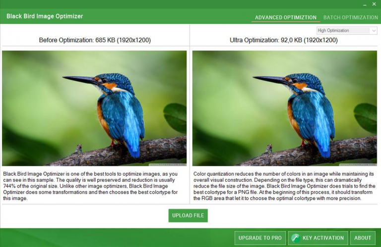 Cut PNG and JPG file sizes with Black Bird Image Optimizer