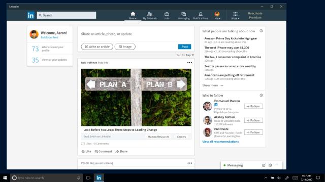 photo image LinkedIn app lands on Windows 10