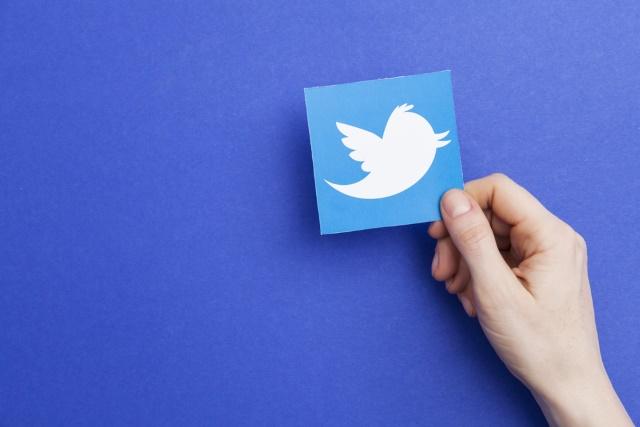 Twitter logo in hand