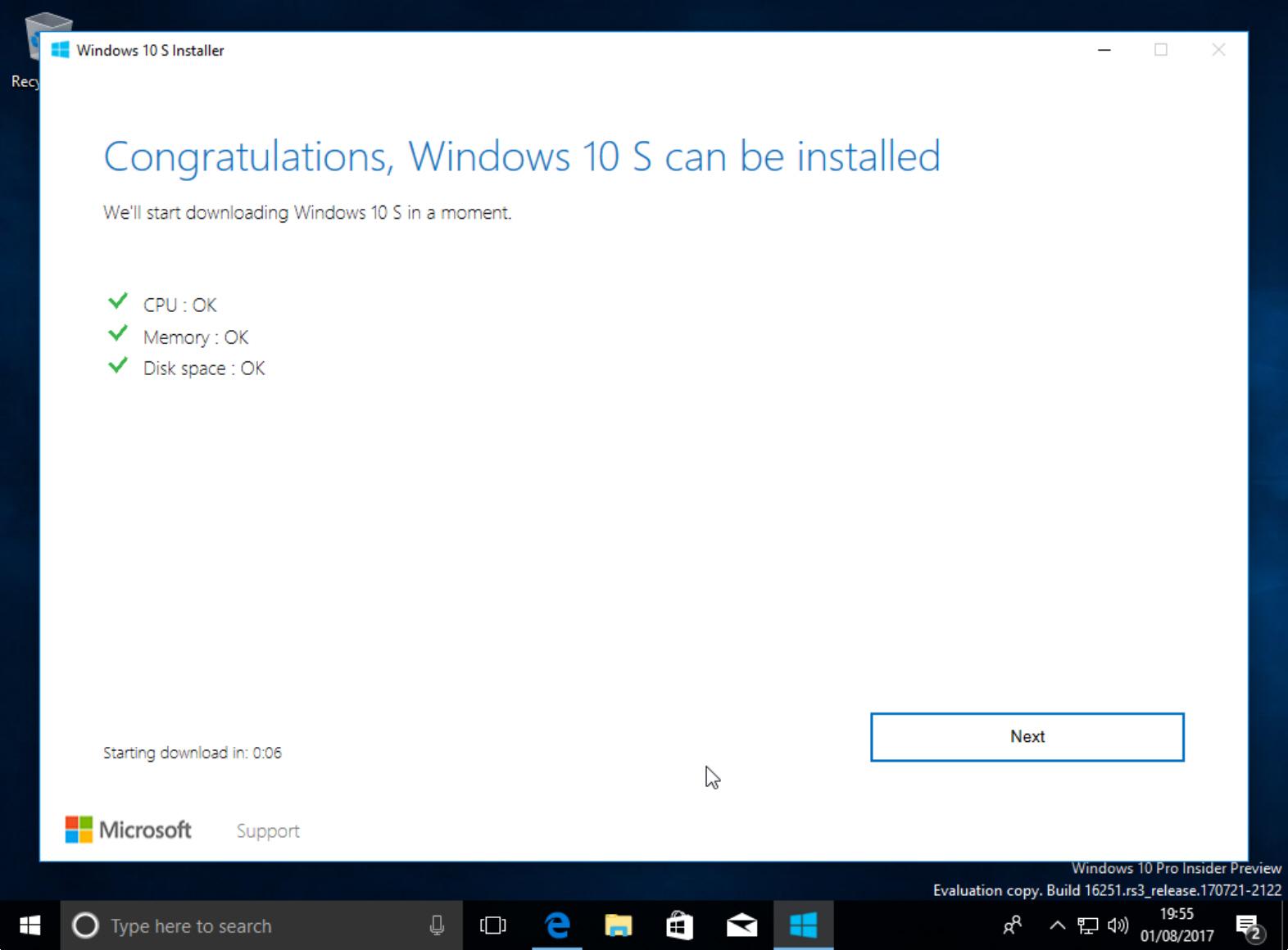 Win10 S installer