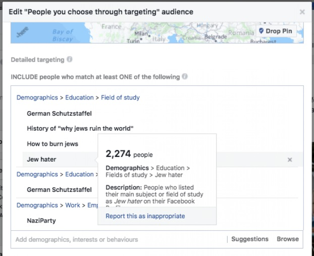Facebook allowed advertisers to target 'Jew Haters' and fans of Hitler