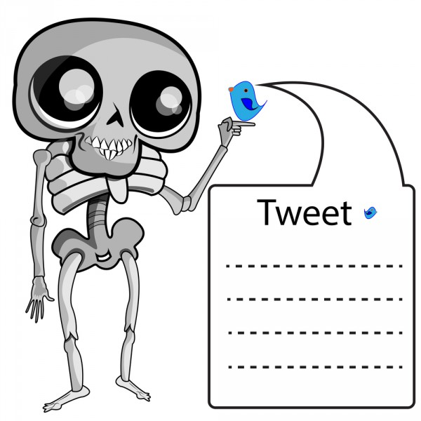 Skeleton with twitter label