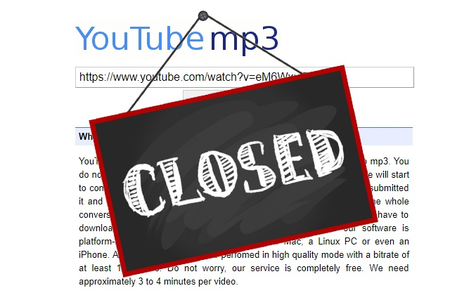 YouTube ripping site YouTube-MP3 to close after record