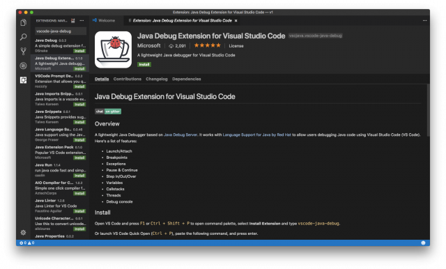 Microsoft Java Debug Extension for Visual Studio Code