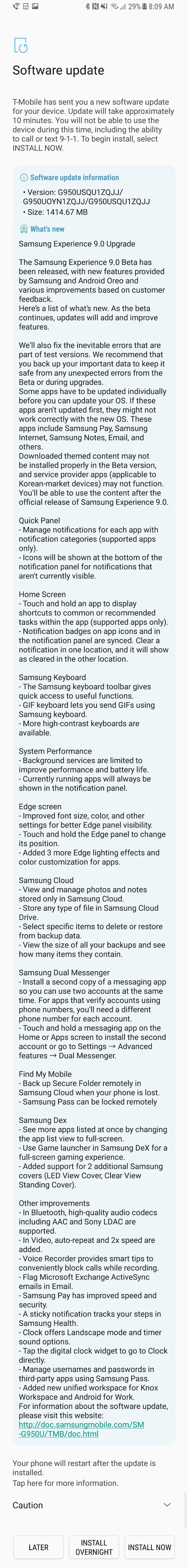 Samsung Galaxy S8 Android Oreo beta changelog