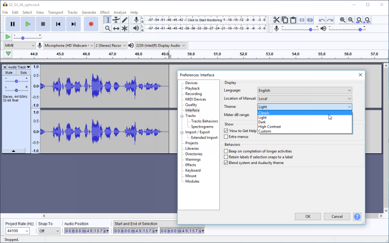 Audacity unveils new themed look along with other interface