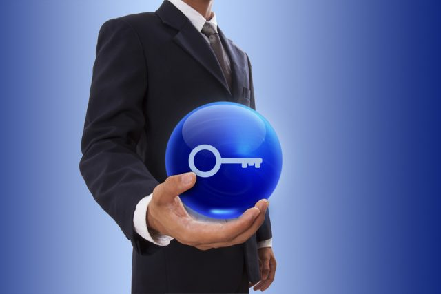 Crystal ball with key