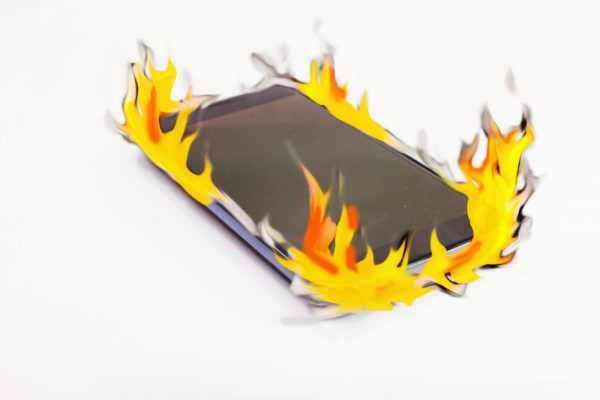 Smartphone in flames