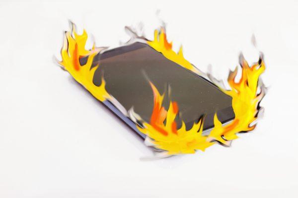Smartphone in flames