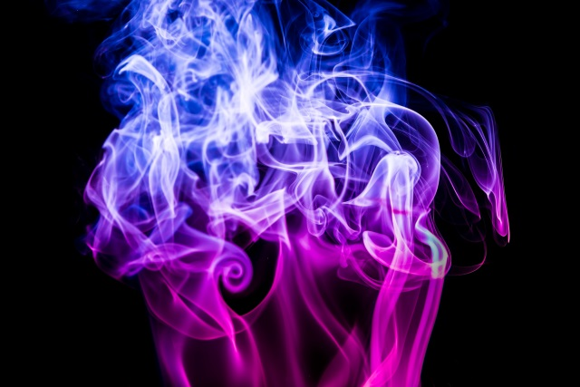 Blue and purple smoke