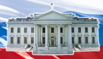White House on Russian flag