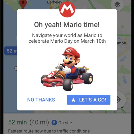 It's Mario time on Google Maps!