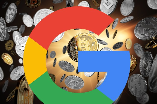 Cryptocurrencies with Google logo