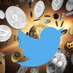 Twitter logo over cryptocurrency coins
