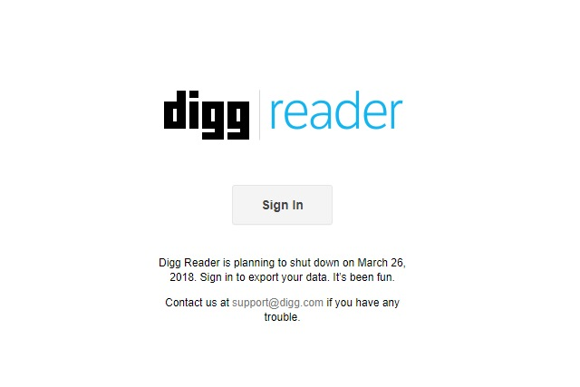 Digg Reader sign in page