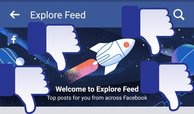 Facebook Explore Feed with thumbs down