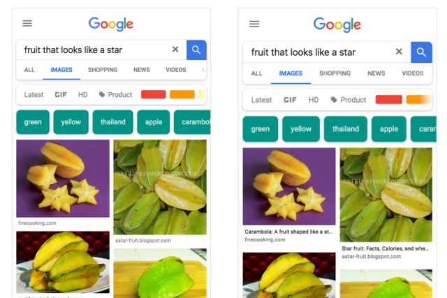 Google Images updated with page title captions under every mobile result